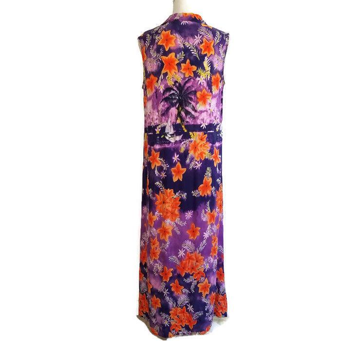 Carol Anderson 14P Dress Vintage Maxi Purple Orange Tropical Button Front D51MP