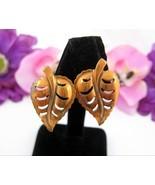 """Copper LEAF EARRINGS Vintage Screw On Backs Openwork Leaves 1 1/8"""" - $12.99"""