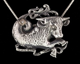 Vintage Guglielmo Cini Sterling Taurus Bull with two Diamonds Accents Br... - $228.67