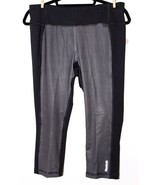 ❤️REEBOK Sport Black Dim Grey Dashing Stripes Skinny Capri Large NEW! L@@K! - $29.92