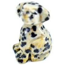 Dalmatian Dacite Gemstone Tiny Miniature Spotted Dog Figurine Hand Carved China image 2