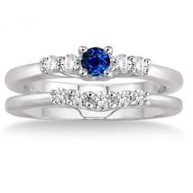 1.25 Carat Sapphire & Sim Diamond Inexpensive Bridal Set on  14K White Gold Fn  - $99.99