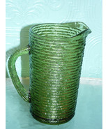 Vintage Anchor Hocking Soreno Avocado Green Bark Pitcher Cup Bowl Platte... - $35.63