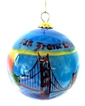 San Francisco Hand-Painted Glass Christmas Ornament - $21.73