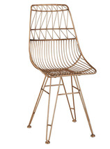 Anthropologie Bend Goods Style Copper Rose Gold Wire Dining Accent Vanity Chair - $196.22