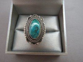 Turquoise Ring Southwest Native Tribal Design Size 6.5 Sterling Silver 1... - $44.54