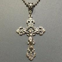 Fleur De Lis Crucifix Cross Jesus Catholic Pendant Medal Silver Tone Mad... - $14.99
