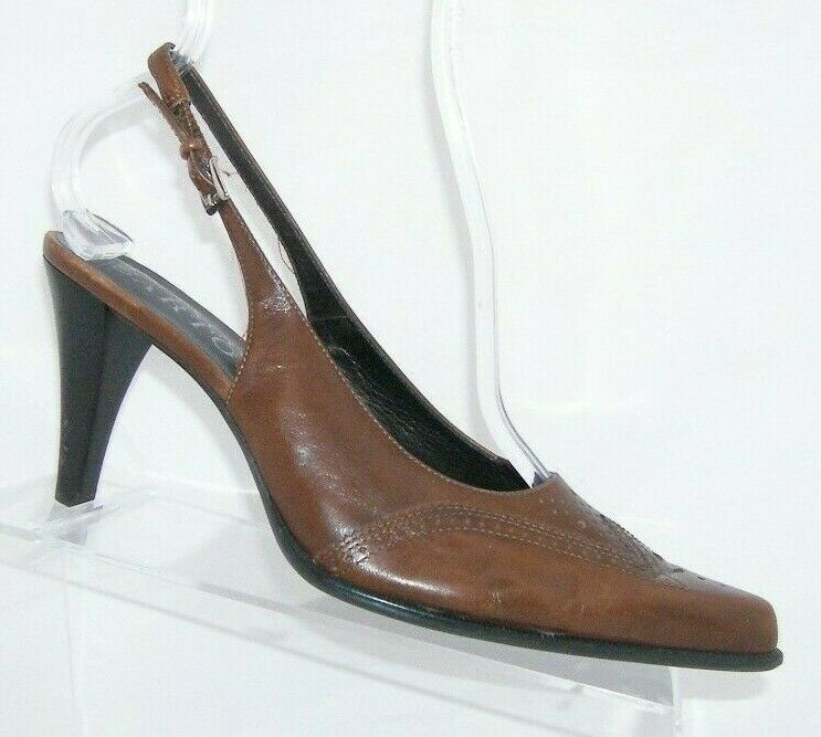 Franco Sarto brown leather pointed oxford brogue buckle slingback heels 7.5M