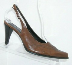 Franco Sarto brown leather pointed oxford brogue buckle slingback heels ... - $33.30