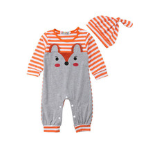 NEW Baby Boys Fox Orange Striped Long Sleeve Romper Jumpsuit & Hat Outfi... - $10.99