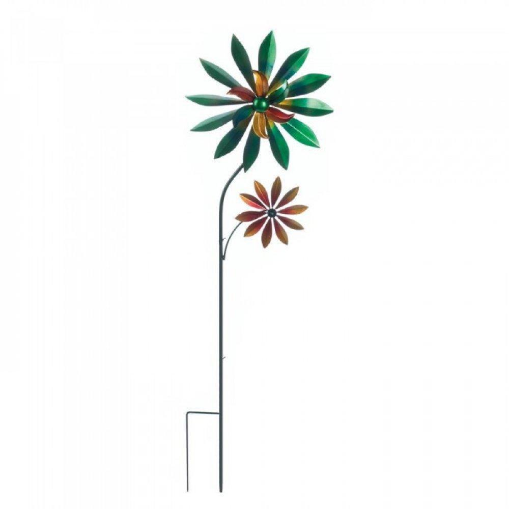 Set of 2 Flower Outdoor Garden Decorative Iron Spinning Windmills - $112.00