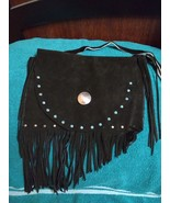 Genuine black leather fringe shoulder bag cowhide fur studs hand crafted... - $29.00