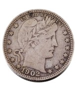1902-S 25C Barber Quarter in VF Condition, Nice Original Coin - $134.50 CAD