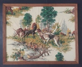 Vtg English Pointer Quilted 3 Dimensional Framed Picture Hunting Dogs Wo... - $46.52