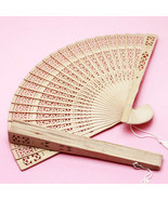 60 Natural Brown Sandalwood Hand Fan Favor Wedding Bridal Shower Gift Fa... - $40.19