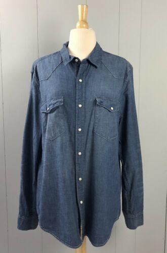 Women's H&M Blue Denim Button-Front Shirt Size L