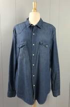 Women's H&M Blue Denim Button-Front Shirt Size L  - $14.24