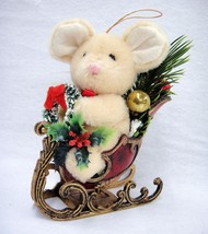 Plush Mouse in Red and Gold Sleigh Holding Wreath Holly Christmas Ornament - $14.84