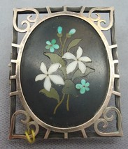 Sterling and Gold Pietra Dura Pin (#C1886) - $550.00