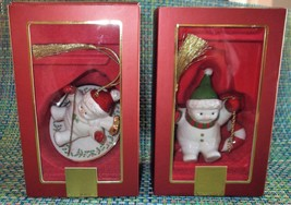 Lenox 2 Snowman Christmas Ornaments Patriotic & On a Dish Sled - $24.00