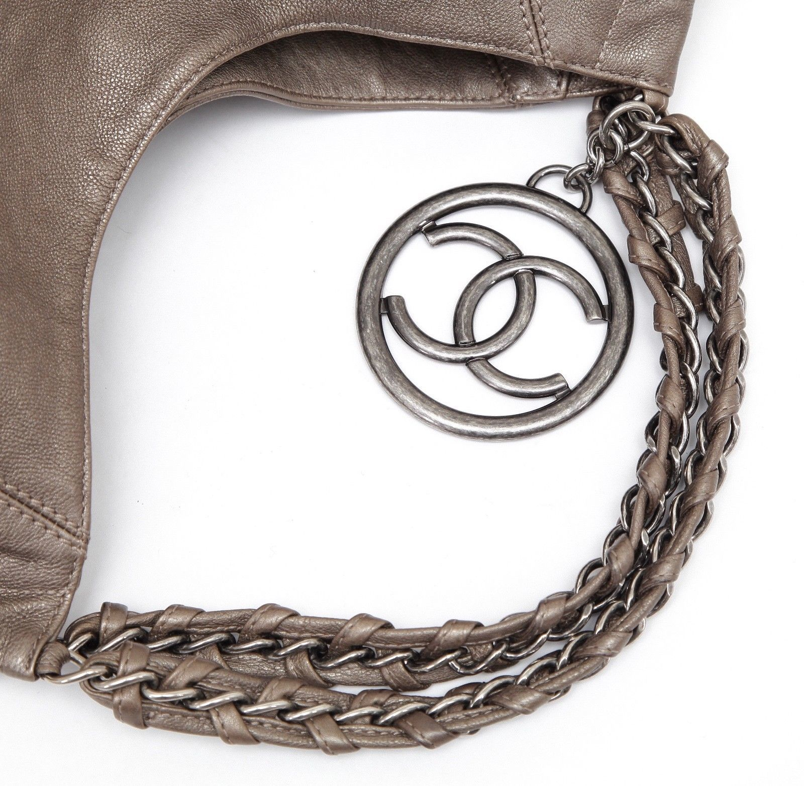 b2008cee5de16e CHANEL Bag Leather Metallic COCO CABAS TOTE Khaki Aged Silver Chain