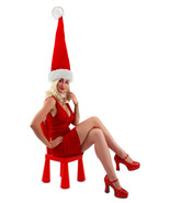 RED GIANT SANTA HAT w/ WHITE FAUX FUR TRIM & POOF BALL ADULT HOLIDAY ACCESSORY - $28.88