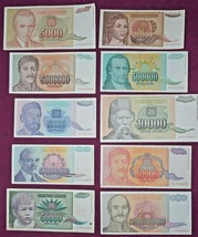 Yugoslavia Inflation Lot 1992 1993 banknote 10000-1000000000