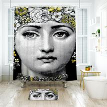 Flower Face Shower Curtain Waterproof Polyester Fabric & Bath Mat For Bathroom - $16.30+