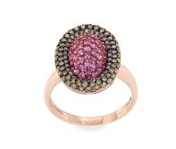EFFY 14K Rose Gold Brown Diamond & Pink Sapphire Ring Size 7.25 »U110 - £498.73 GBP