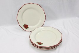 "Better Homes Poinsettia Xmas Dinner Plates 2010 11"" Set of 4 - $40.67"
