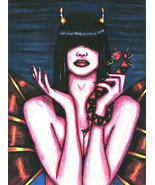 Nude oracle demon Woman print original art fantasy goth colored pencil a... - $7.99