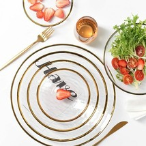 Glass Nordic Glod Charger Dinner Dish Plate Salad Soup Fruit Bowl Desser... - $14.57+