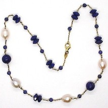 Silver necklace 925, Yellow, Blue Lapis Lazuli Disk and spheres, Pearls, 45 cm image 2