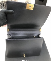 AUTH CHANEL BLACK QUILTED LAMBSKIN LARGE BOY FLAP BAG GHW image 8