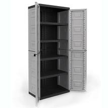 Utility Cabinet Storage 4 Shelf Plastic Home Garage Accent Tool Sturdy O... - $75.94