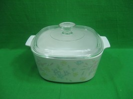 Vintage Corning Ware Pastel Bouquet 8-22-3B ~ Casserole Dish ~ 3 Liter with Lid - $21.46