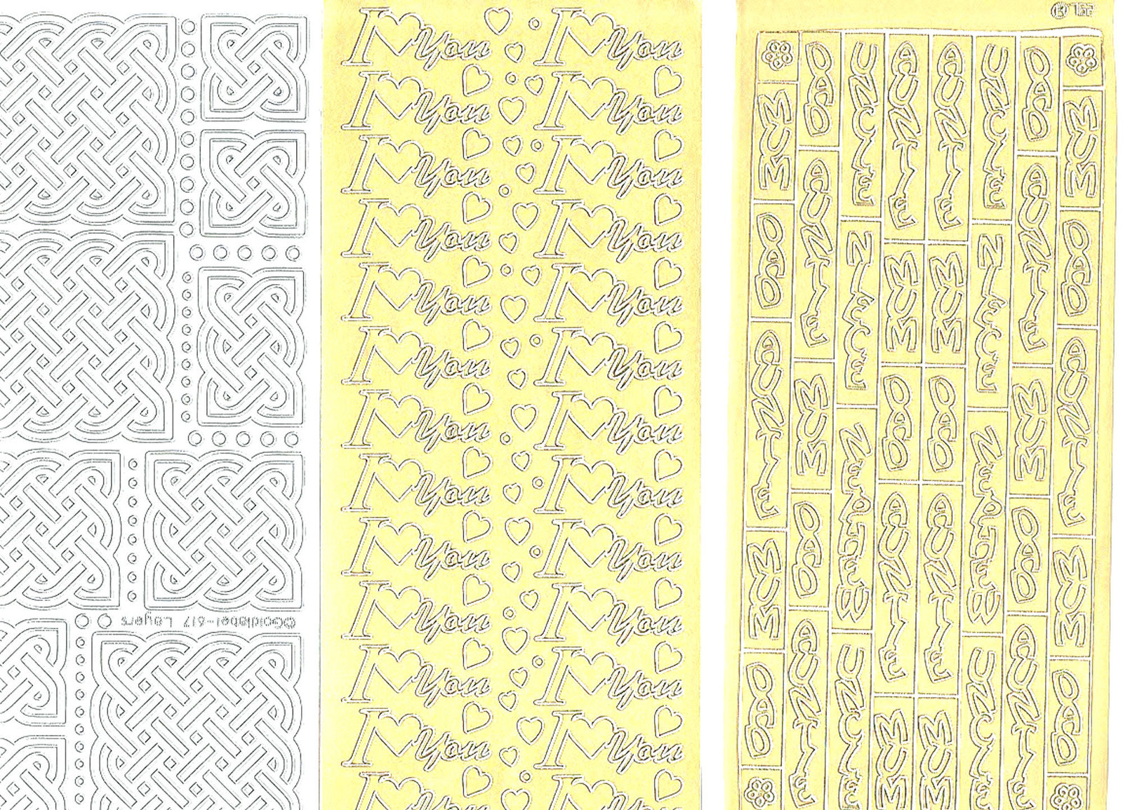 3 x sheets of peel off stickers 2 gold 1 silver  ideal cards, papercraft, displa
