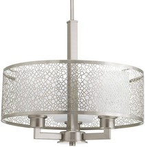 Progress Lighting Mingle 17-in Brushed Nickel Multi-Light Etched Glass ... - $183.15