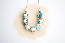 White dainty necklace, blue white beaded necklace, blue delicate necklace - $25.00