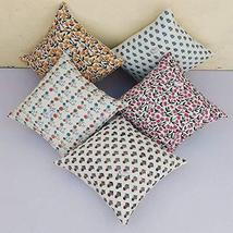Traditional Jaipur Set of 5 Block Print Fabric Indian Cushions Pillow Covers Dec - $39.59
