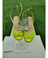 New Auth Charlotte Olympia Yellow Perforated Heel Sandals Strap Size37 U... - $149.59