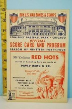 June 23 1944 Cleveland Indians v Chicago White Sox Baseball Scorecard WWII - $38.61