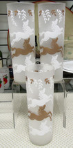 """Libbey Cavalcade White And Gold Frosted Horses 7"""" Cooler Tom Collins Set Of 3 - $5.89"""