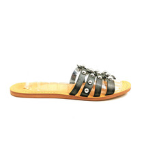 Marc Fisher Womans Pava Silver Studded Black Leather Slide Sandal Sz 10 M - $42.56