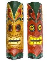 "20"" Set Of 2 Handmade Tiki Mask Hawaiian Polynesian Wall Art Tribal Bar Tropical - $24.69"