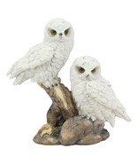 """White Snowy Baby Owlets Perching On Winter Forest Tree Branch Statue 7""""L... - $21.99"""