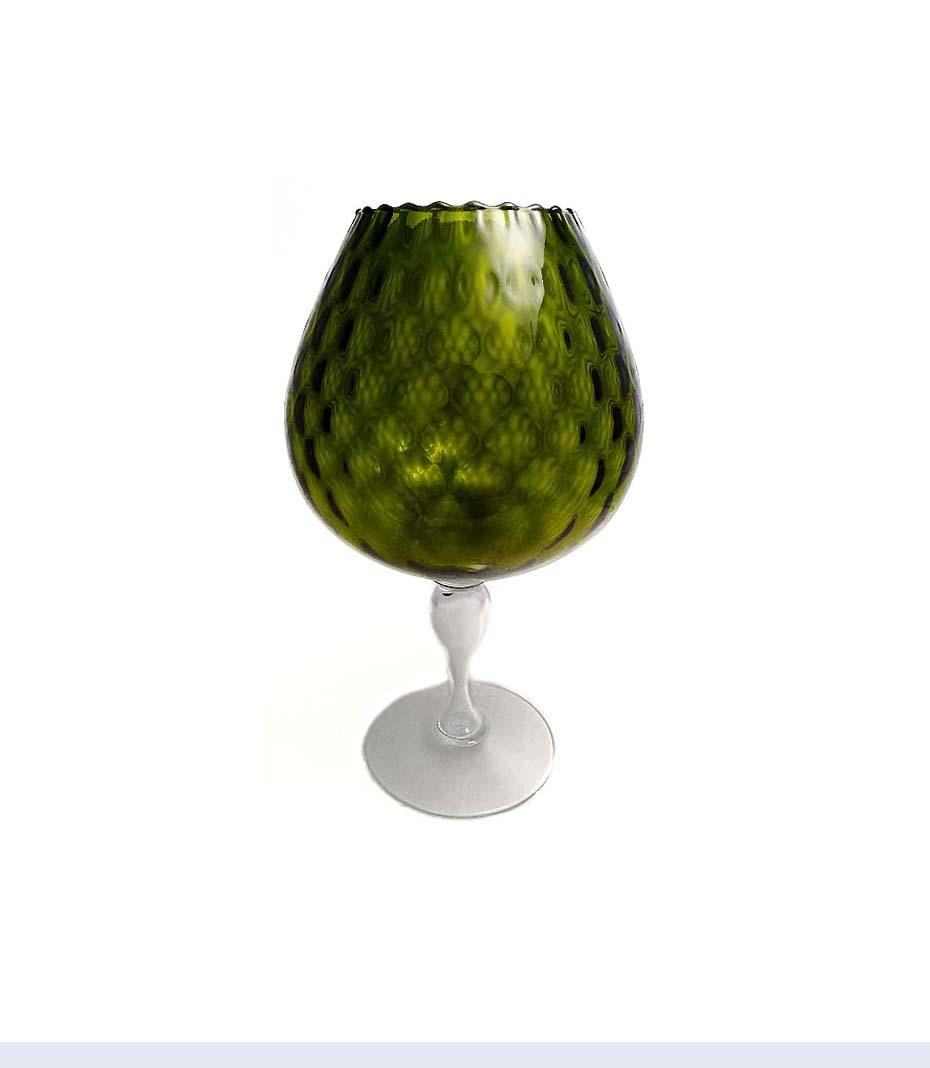 FENTON XLARGE Olive DIAMOND OPTIC Brandy Snifter Vase 1950s Mid Century Mod