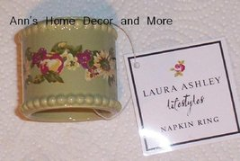 Laura Ashley Green Ceramic Floral Set of 4 Napkin Rings Holders - $14.99