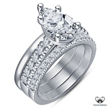 Wedding Women's Ring Set Pear Shape Diamond White Gold Plated Solid 925 Silver - $119.99