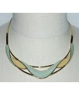 VTG TRIFARI Modernist Abstract Gold Tone Green Cream Colored Enamel Chok... - $99.00